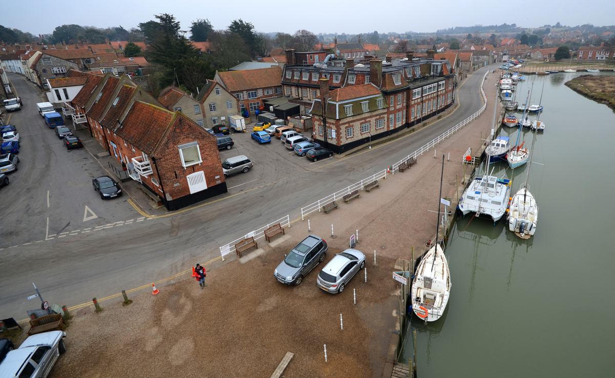 Birds eye view Blakeney quay